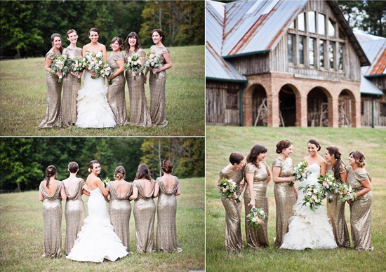 Gold bridesmaid dresses from Rent the Runway