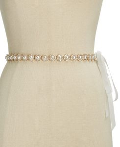 kate spade new york pearl and rhinestone ribbon belt | Bridal belts from Macy's