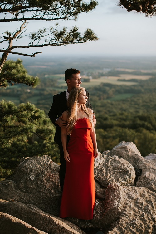 Red gown from Rent the Runway for Engagement Pictures