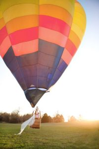 Leave your wedding in a hot air balloon!