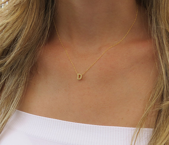 Ask Your Bridesmaids to be in Your Wedding with Jewelry | Gold Initial Necklace