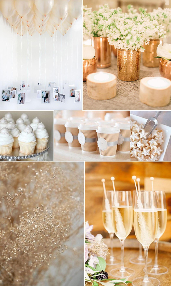white and gold bridal shower details flowers and champagne