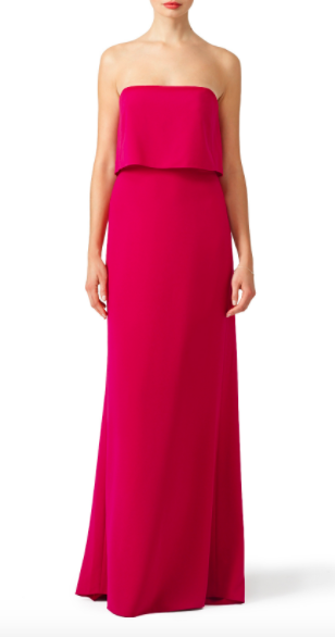 Affordable designer bridesmaid gown from Rent the Runway | Halston Heritage Pink Cerise Gown