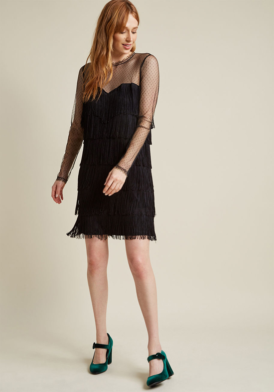 Affordable Little Black Bridesmaid Dress from ModCloth | Fab Fringe Long Sleeve Dress