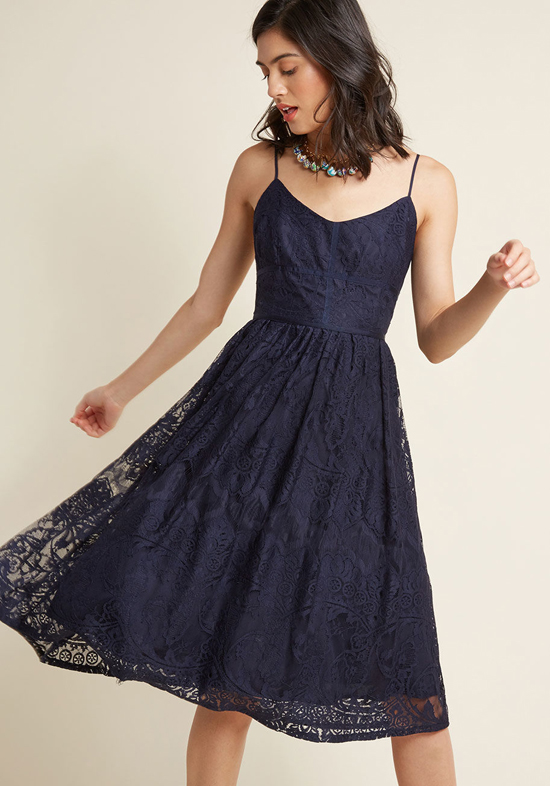 Affordable Bridesmaid Dress from ModCloth | Lace Midi Dress