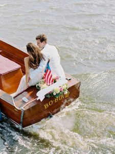 Leave wedding in a boat