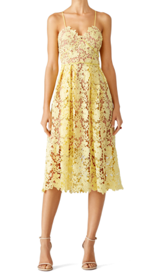 Inexpensive Bridesmaid Dress from Rent the Runway | Slate and Willow Yellow Midi Dress