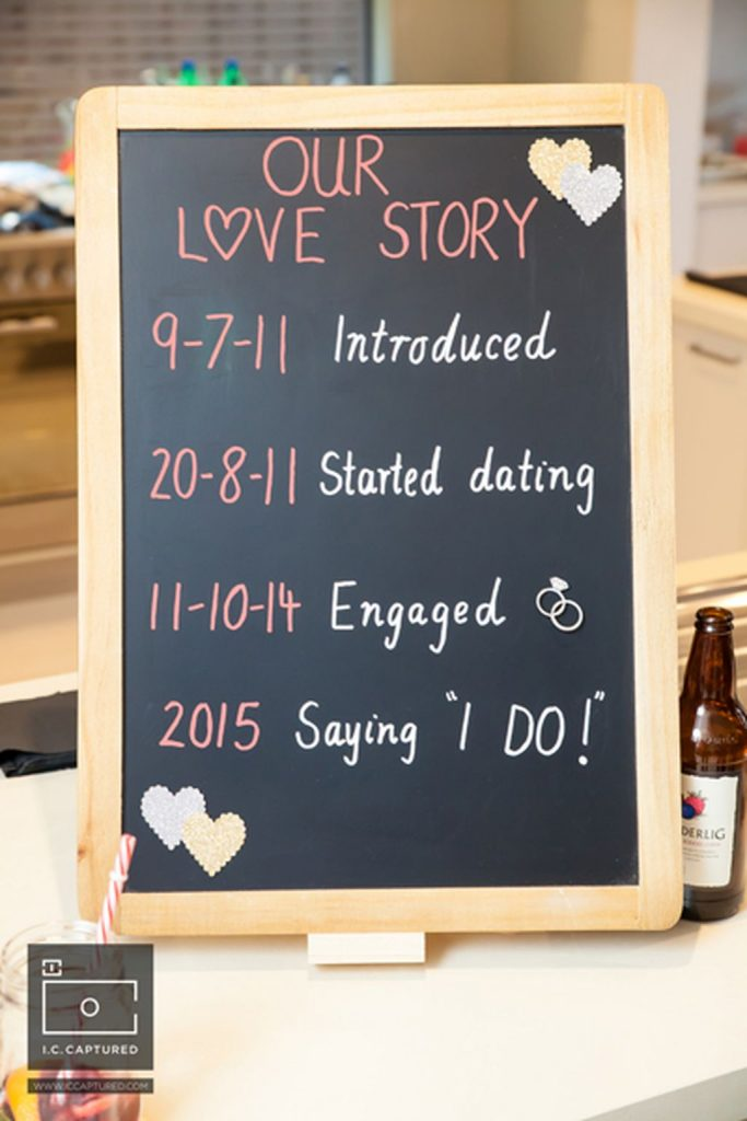 Announce Your Engagement on Social Media with a cute chalkboard sign