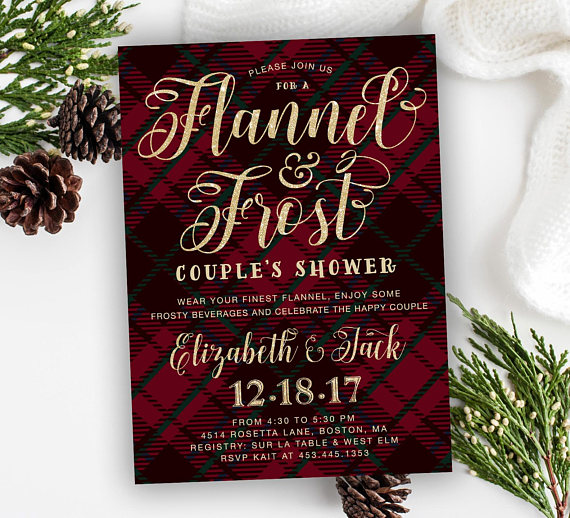 Flannel and frost bridal shower invitation | Winter Wedding Couples Shower