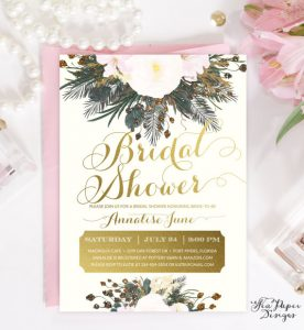 Evergreen and gold bridal shower invitation | Winter Wedding Shower Invitation