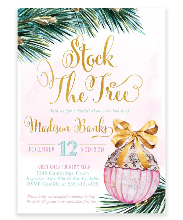 Stock the Tree Bridal Shower Invitation | Christmas Bridal Shower Invitation