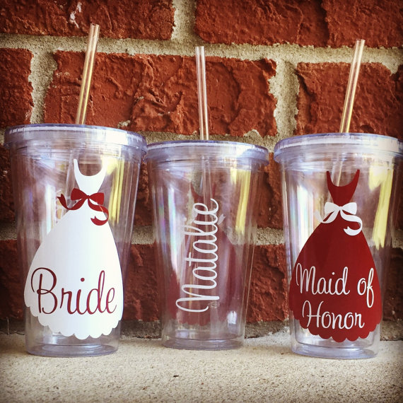 Cute Ways to Ask Your Bridesmaids with personalized tumblers