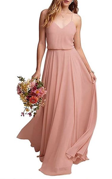 Affordable Bridesmaid Dresses | Chiffon Spaghetti Strap Dress