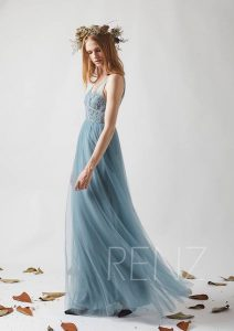 Affordable Bridesmaid Dresses | Dusty Blue Lace + Tulle Bridesmaid Dress