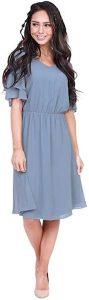 Affordable Bridesmaid Dresses   VNeck Flutter Sleeve Chiffon Dress