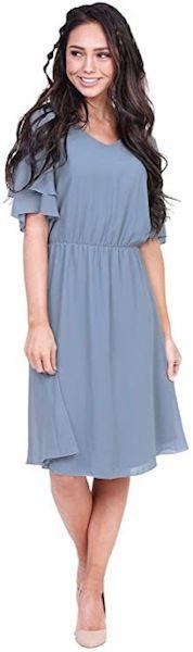 Affordable Bridesmaid Dresses | VNeck Flutter Sleeve Chiffon Dress