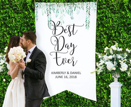 Personalize your wedding ceremony space with a unique aisle runner or custom signage