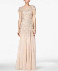 Adrianna Papell Cap-Sleeve Embellished Neutral Bridesmaid Dress from Macy's