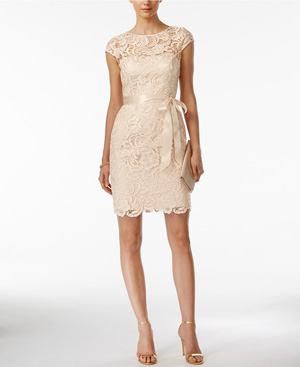 Adrianna Papell Lace Cap-Sleeve Illusion Sheath Neutral Bridesmaid Dress from Macy's Wedding Shop