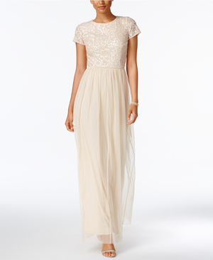 Adrianna Papell Sequined Tulle A-Line neutral Bridesmaid Gown from Macy's Wedding Shop