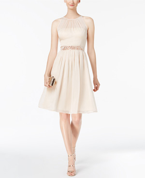 Adrianna Papell Belted Chiffon Neutral Bridesmaid Dress from Macy's Wedding Shop