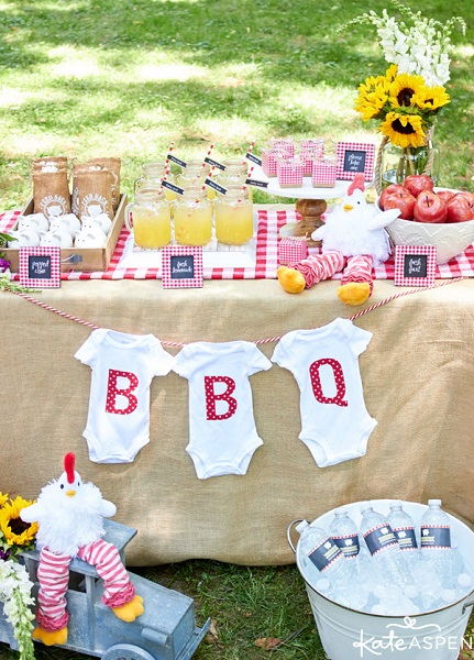 Co-Ed baby shower baby-q theme