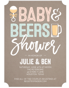 Co-Ed baby shower baby and beers Shutterfly invitation