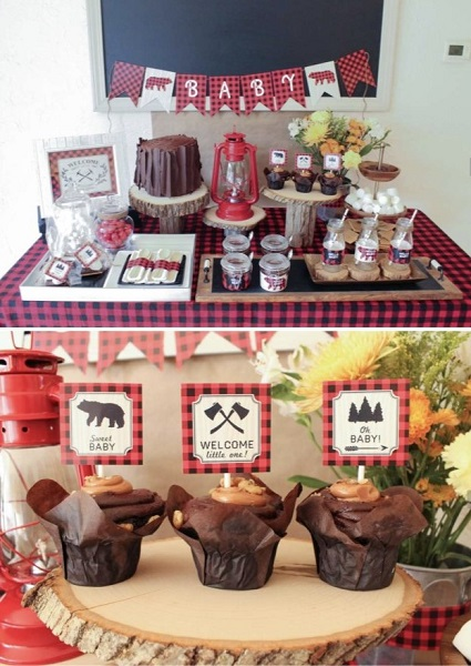 Co-Ed baby shower lumberjack theme