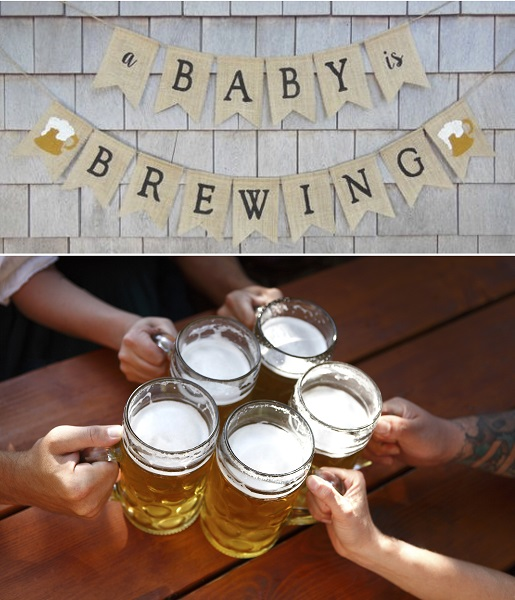 Co-Ed baby shower a baby is brewing banner