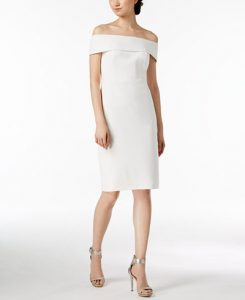 White Rehearsal Dinner Dress   Off-The-Shoulder Dress