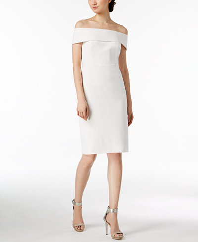 White Rehearsal Dinner Dress | Off-The-Shoulder Dress