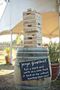 Wedding Guestbook Alternatives for the Non-Traditional Couple | Giant Jenga Pieces