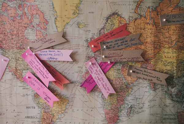Fun Wedding Guestbook Alternatives | World Map with Travel Tips