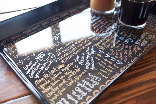 Wedding Guestbook Alternatives for the Non-Traditional Couple | Acrylic Serving Tray