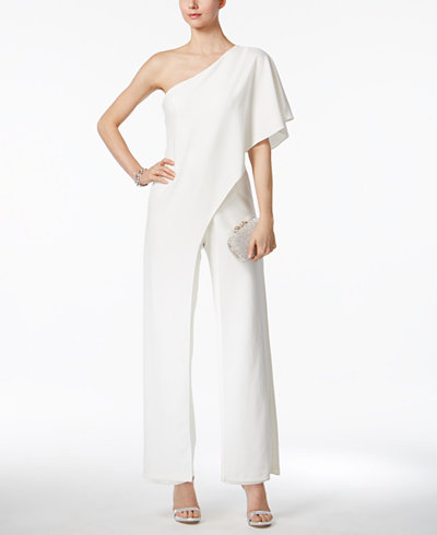 Trendy Outfits for Your Wedding Rehearsal | One Shoulder Jumpsuit