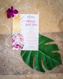 Custom Menu Tropical Pineapple Theme from Etsy