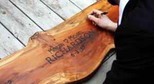 Unique Wedding Guestbook Alternatives   Wood Slab