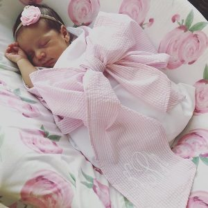 Hosting a Sip and See | Mudpie Monogram Bow Swaddle