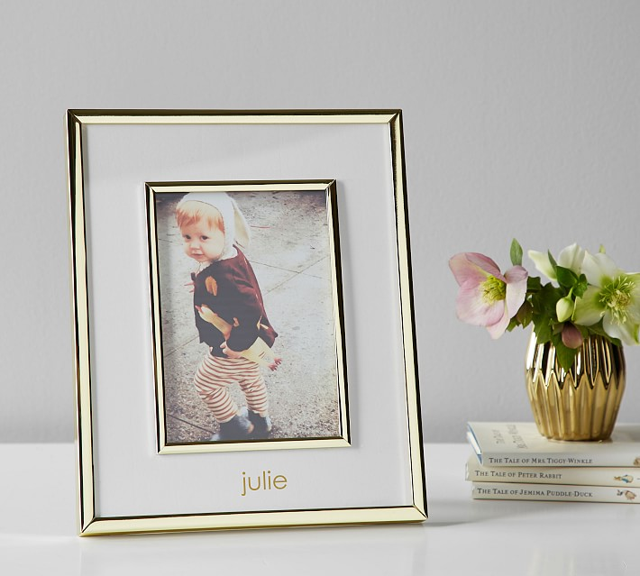 Pottery barn kids polished gold keepsake frame