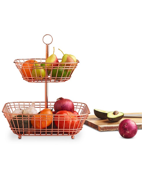 copper tiered fruit basket Martha Stewart Macy's