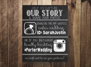 Wedding App Signage | Wedding Hashtag signage