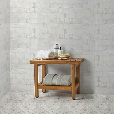 Teak Wood Oversized Shower Bench with Shelf | Spa Bathroom Tips