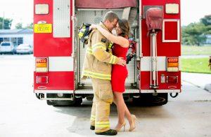 Firefighter engagement photo idea