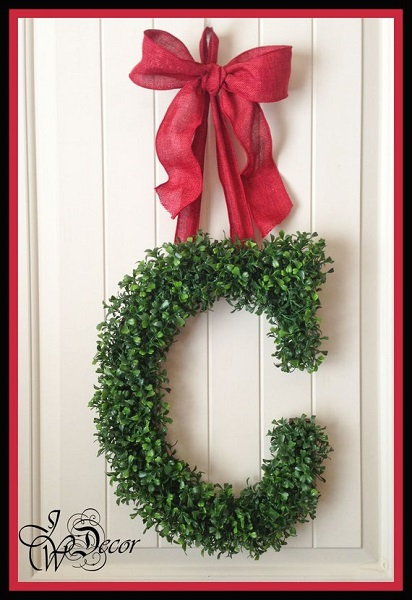 Christmas Presents for Newlyweds | Monogram Initial Boxwood Wreath