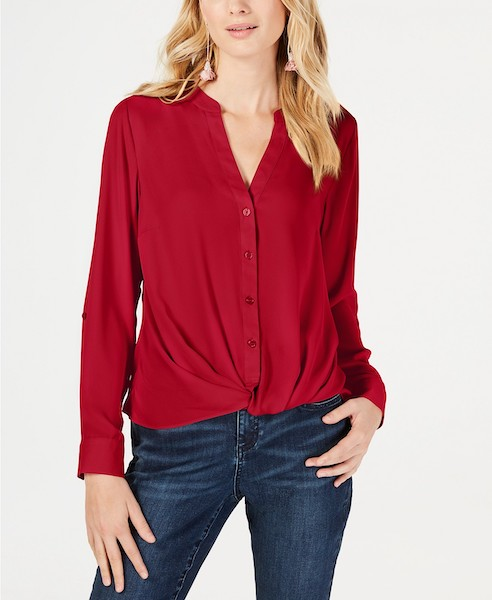I.N.C. Twist-Front Button-Up Top Macy's