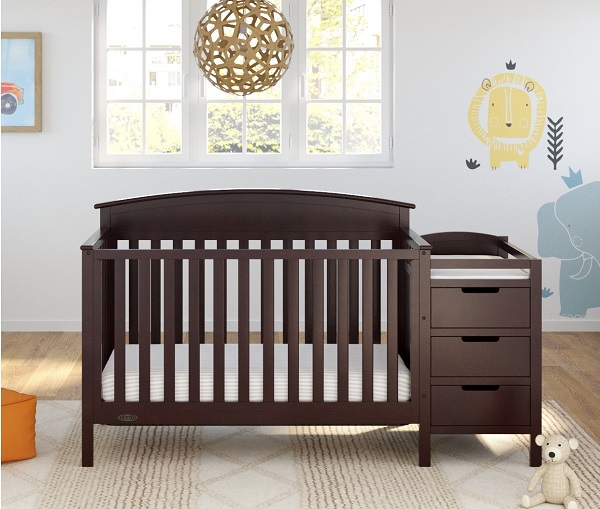 This 5-in-1 crib will go from small space nursery to big-kid room and beyond in a snap!