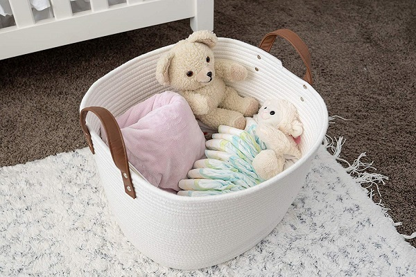 Designing A Small Space Nursery | Storage Basket with Handles