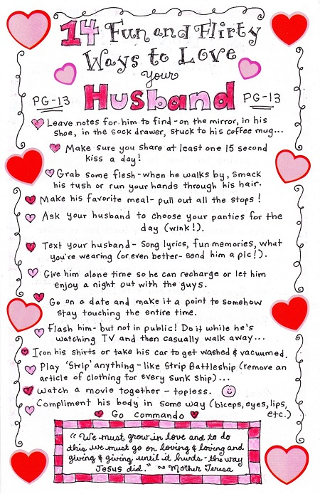 14 Fun and Flirty Ways to Love your Husband