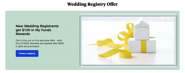 wedding registry offer