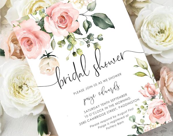 blush printable bridal shower invitation | DIY Bridal shower invitation